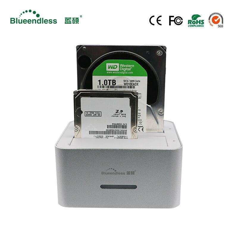 En aluminium dock station 2.5 cas disque dur boitier hd externo sata usb3.0 hd cas 3.5 externe hdd station d'accueil pour 6 tb