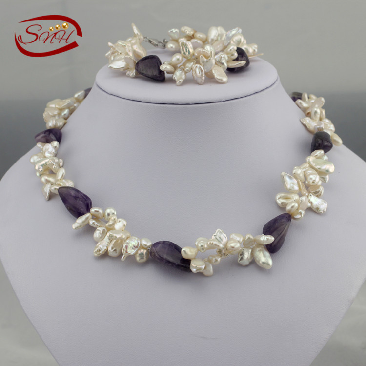 fashion pearl exaggerated keshi shape white pearl purple crystal fashion new style necklace and bracelet set fashion jeremy lin style in jesus name i play silicone energy bands bracelet white