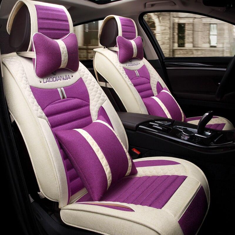 3D Car Seat Cover Cushion Flax Car Styling For Volkswagen Beetle CC Eos Golf Jetta Passat Tiguan Touareg sharan