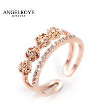 Anel Wedding Ring Rose Flower ings For Women Anillos Bague Aneis Bijoux Femme Multilay Joias Feminino CZ 30% Silver Jewelry