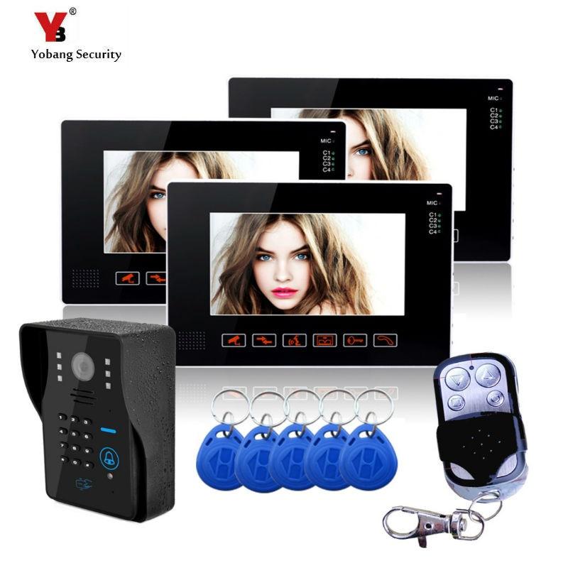 Yobang Security 9 Inch Video Intercom Doorbell Phone Camera Home Entry Intercom 1 Camera 3 Monitor Support Remote&RFID Unlock