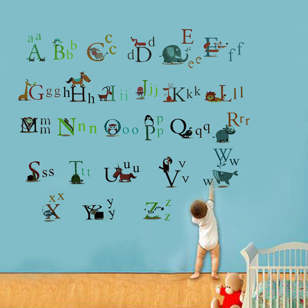 Alphabet wall stickers for nursery wall murals ideas aliexpress buy a z alphabet animals wall stickers baby amipublicfo Image collections