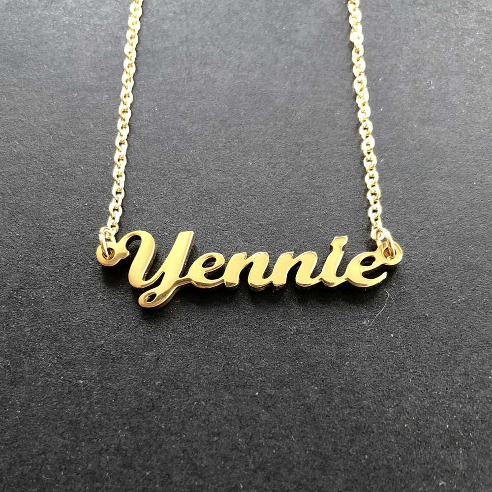 Custom Personalized English Arabic Name Choker Gold Color Hand Signature  Customized Nameplate Necklace