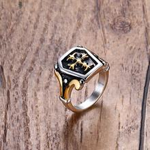 Mens Vintage Unending Loyalty Stainless Steel Center Celtics Cross Ring in Gold / Silver-color Black Male Bike Jewelry Aneis