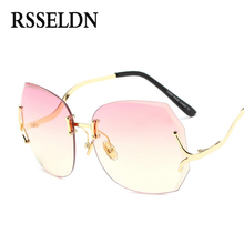 RSSELDN Fashion 2017 New Vintage Rimless Sunglasses Women High Quality Gradient Women Rimless Sun glasses Ladies Pink