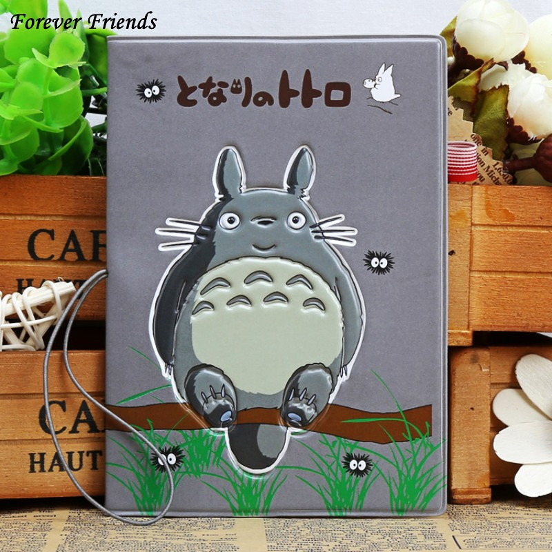 cartoon Totoro 3D stereo Travel passport cover PVC Credit Card holder 14*9.6cm card Bag Outlet for travel 3d qubiclife london bus stereo card creative travel card