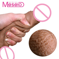 Meselo New Soft Elastic Dildo, Suction Cup Women Waterproof Realistic Penis Female Masturbator Adult Game Sex Toys For Woman