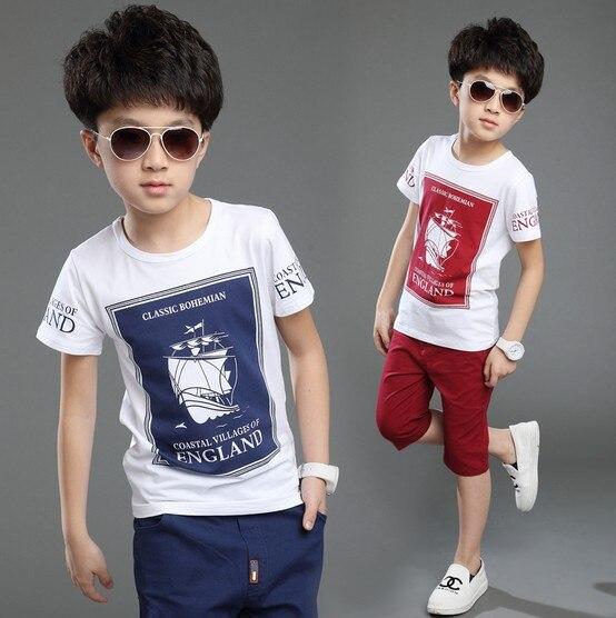 Brand 2016 Summer Boys Fashion Printed Clothing Sets Male Kids
