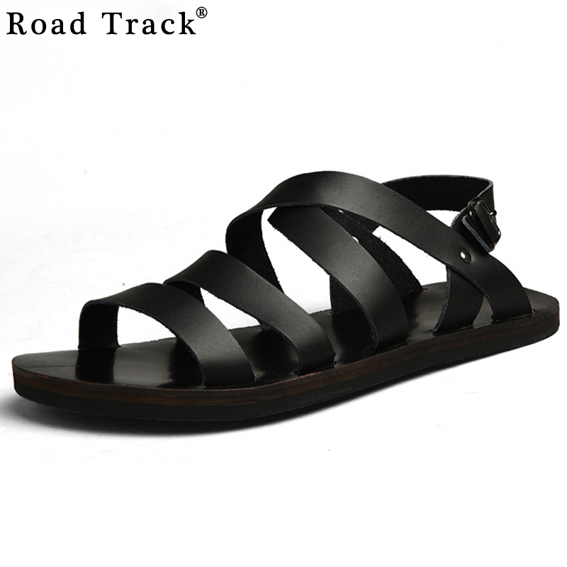 Summer Men Sandals Leather Vintage Flat Heel Solid Buckle