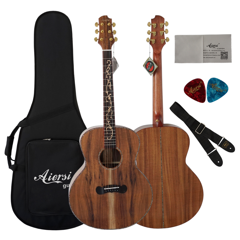 Aiersi 2018 New design Guitar Acoustic top solid koa acoustic guitar SG02KK-40 free guitar case цены