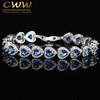 High Quality 925 Sterling Silver Mystic Light Blue Crystal Love Bracelet For Women Wedding Bridal Gift