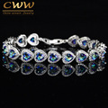 High Quality 925 Sterling Silver Mystic Light Blue Crystal Love Bracelet For Women Wedding Bridal Gift Jewelry CB173