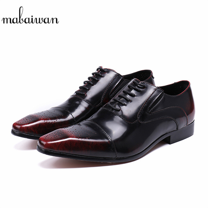 Mabaiwan High Quality Genuine Leather Dress Men Casual Shoes Lace Up Italy Retro Business Wedding Brogue Shoes Men Oxford Flats mabaiwan black genuine leather men shoes dress wedding male brogue shoes men lace up oxfords prom slipper business formal flats