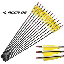 "6/12ps 31inches ID6.2mm with 5"" Real Turkey Feather Carbon Arrow Spine 300 340 400 500 600 700 800 Carbon Arrows for hunting(China)"