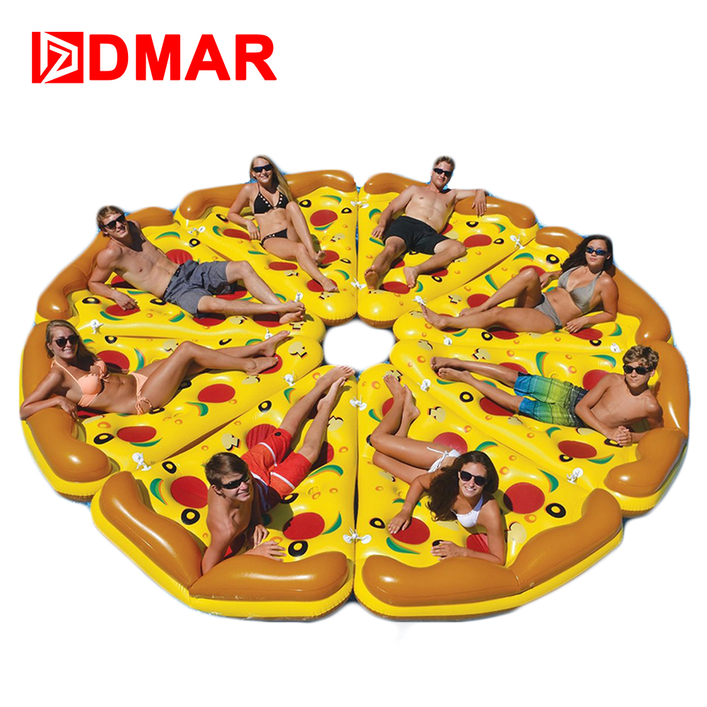 DMAR Inflatable Pizza Giant Pool Float Mattress 180CM 5.9' Swimming Ring Circle Beach Bed Sunbathe Mat Water Party Toys kid s thicken pizza shape inflatable water toy outdoor swimming ring adult child beach pool sea toy summer cute floating bed