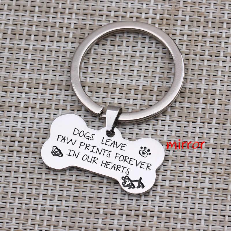 สุนัข Leave Paw พิมพ์ Forever In Our Hearts พวงกุญแจอนุสรณ์เครื่องประดับสุนัขสัตว์เลี้ยง Lover ของที่ระลึกรูปจี้