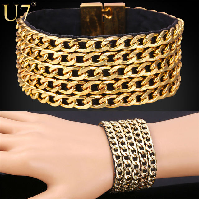 U7 Hip Hop Big Leather Bracelet Men Jewelry Trendy Gold Plated Cuban Link Chain Mens Bracelet  Rock Style H747