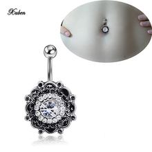 Bright Flower Belly Button Ring 14 Gauge G23 Titanium Bar Piercing Nombril jewelry piercing na barriga