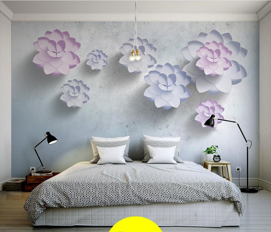 Latest 3D stereo simple plain flowers modern wallpaper,living room tv sofa wall children bedroom large murals papel de parede