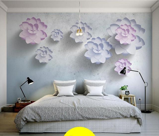 Latest 3D Stereo Simple Plain Flowers Modern Wallpaperliving Room Tv Sofa Wall Children Bedroom