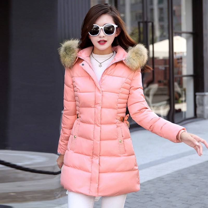 Women Medium Long Fur Parkas 2017 Winter Coat Casual Slim Waist Fleece Hooded Down Jacket Padded Coats Outwear Large Size XXXL 2017 cheap women winter jacket down cotton padded coats casual warm winter coat turn down large size hooded long loose parkas