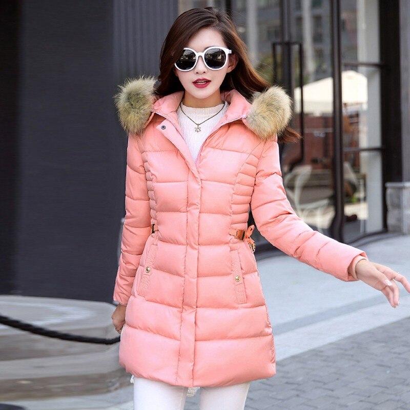 99cea4d07aa5 Women Medium Long Fur Parkas 2018 Winter Coat Casual Slim Waist ...
