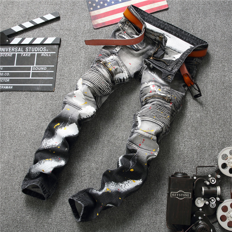 2017 Men Jeans Ripped Designer Biker Hole Denim patch Straight punk rock jeans for men Pants Slim Casual Skinny Ruched Jeans 2017 new hiphop men hole jogger pants high quality casual destroyed skinny ruched jeans hole casual pants jogger rock jeans