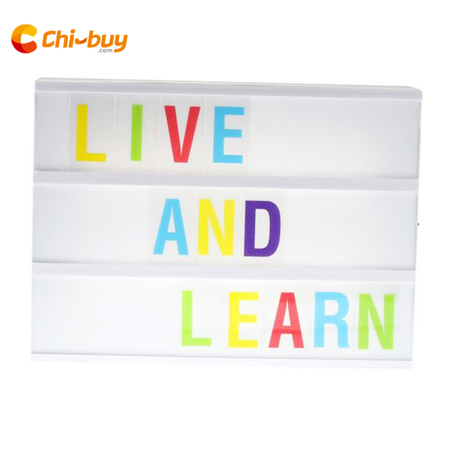 CHIBUY A4 size 3 line Battery Powered Cinema Light Box, Plastic LED Cinematic Lightbox with 170 Letters & Numbers