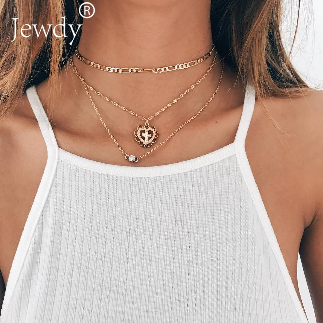 a8f3570d9bd2f US $1.37 30% OFF|3 Layers Chain Necklace Set Cross Necklace Crystal Moon  Necklace Beach Boho Jewelry Minimal Multi Layer Long Pendant Collier-in ...