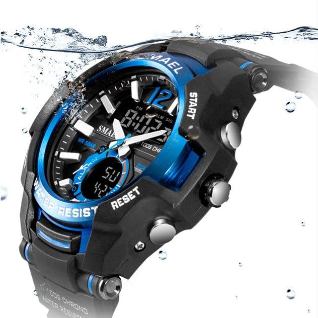 Smael 2020 relógios masculinos moda esporte super legal quartzo led relógio digital 50 m relógio de pulso à prova dwaterproof água relógio masculino 1