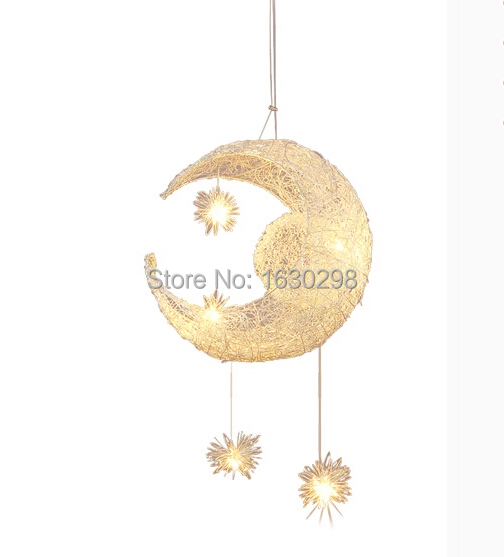New Novelty Kid Children Room Pendant Lights Aluminum Lampshade Moon Star Bedroom Pendant Lamp G4 LED Bulb Light Fixtures