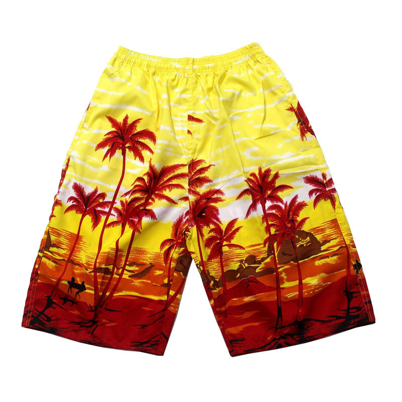 FDWERYNH Summer Beach Hawaii Style Shorts Men Beach Floral Printed Coconut Palm Tree Leisure Shorts Plus Size 4XL