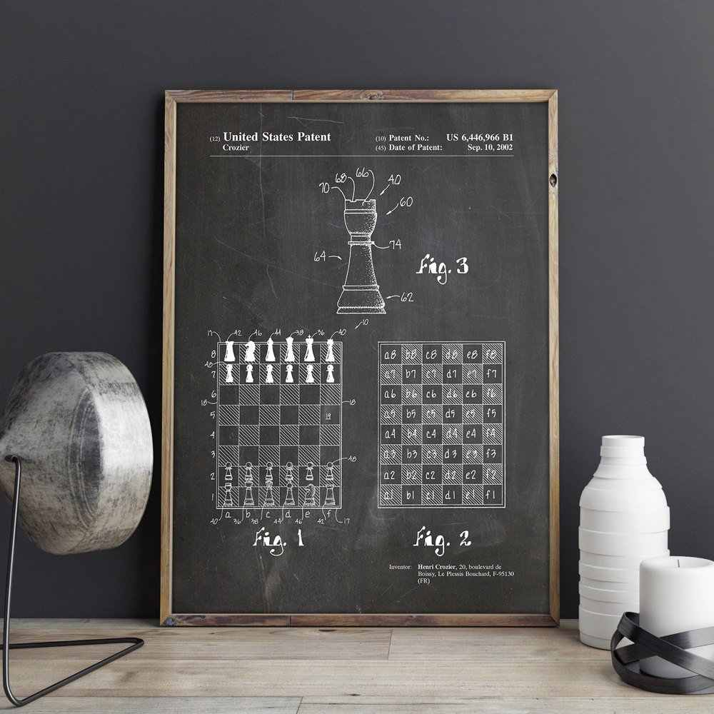 Speed Chess patent, gaming wall art,Fast Chess posters,room decor,vintage print,blueprint, gift idea,game wall Decorations