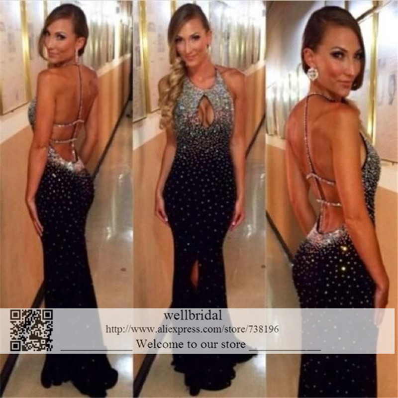 Sexy 2019 Mermaid Robe De Soiree Longue Sexy Criss Cross off the shoulder Crystal Beaded Backless Chiffon Long Evening Dresses