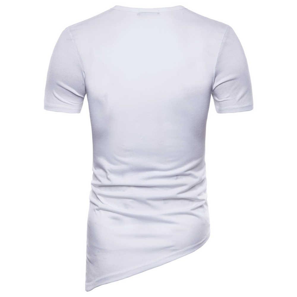 Helisopus мужские необычные футболки 2018 новая индивидуальная Высокая уличная тонкая плетеная футболка с короткими рукавами мужские круглый воротник Подол Топы
