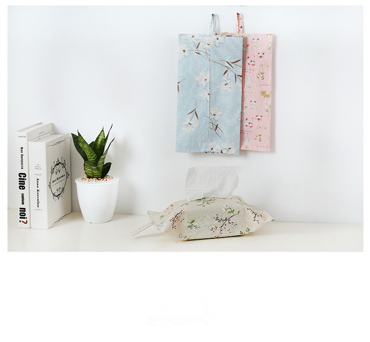 1PC Hanging Fabric Linen Coto Paper Towel Box Bedroom Living Room Napkin Dispenser Paper Holder Cover Tissue Box OK 0749 in Tissue Boxes from Home Garden