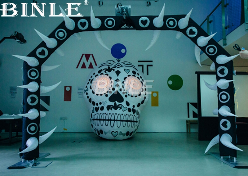 цены Super halloween decoration inflatable skull head giant skeleton model with light inside for advertising