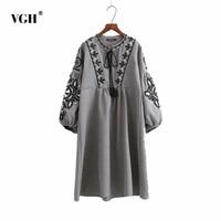 VGH Women Vintage Embroidery Flower High Waist Long Dress Lantern Sleeve Bow Tie O Neck Pleated