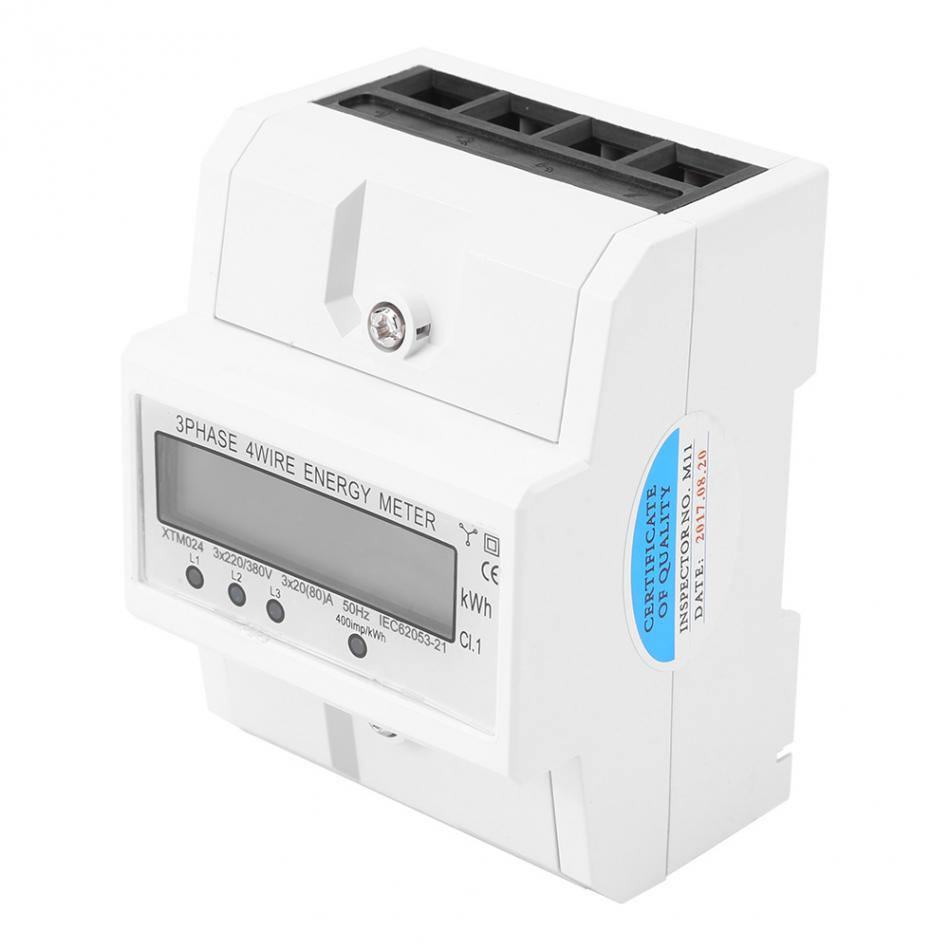 цена на 3 Phase Electronic Energy Meter LCD Display Digital Four Wire Type Single Phase Maters DIN-Rail KWh 3 x 20(80A)