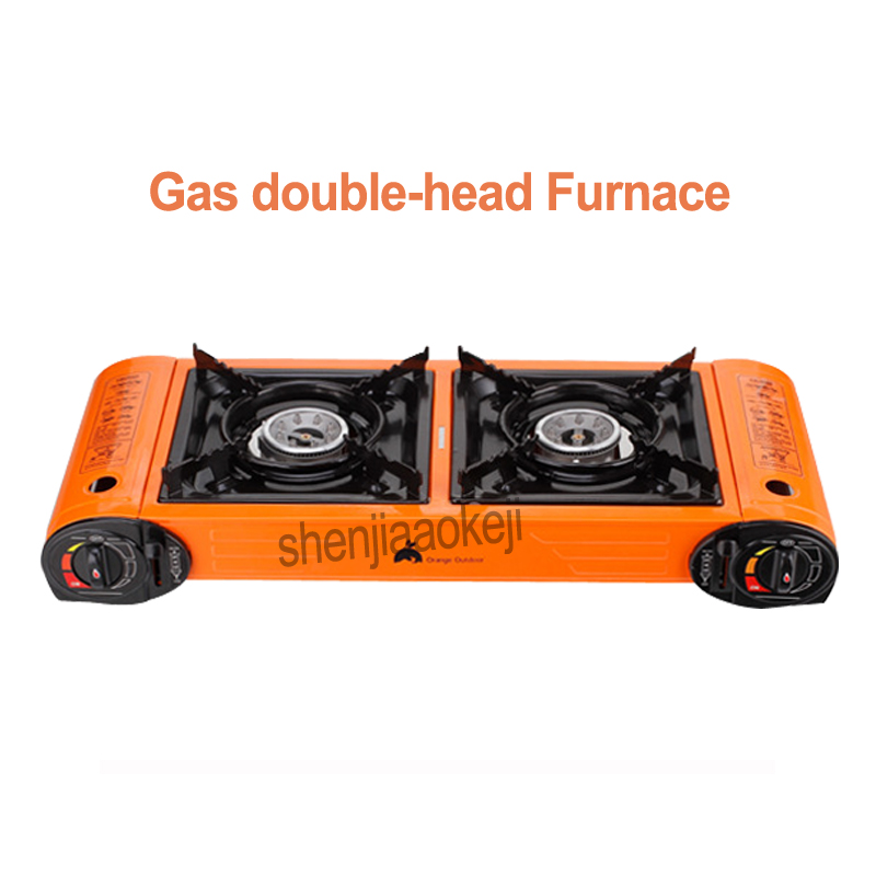 Camping cooker stove Double-headed barbecue Furnace Liquefied Gas BBQ grill large fire Outdoor Stove 1pc цены