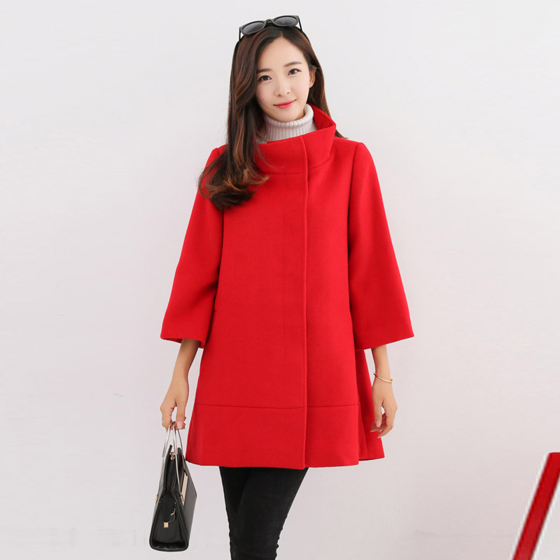Pregnant women clothing 2017 new style autumn and winter solid color coat wool coat long coat female jacket for women