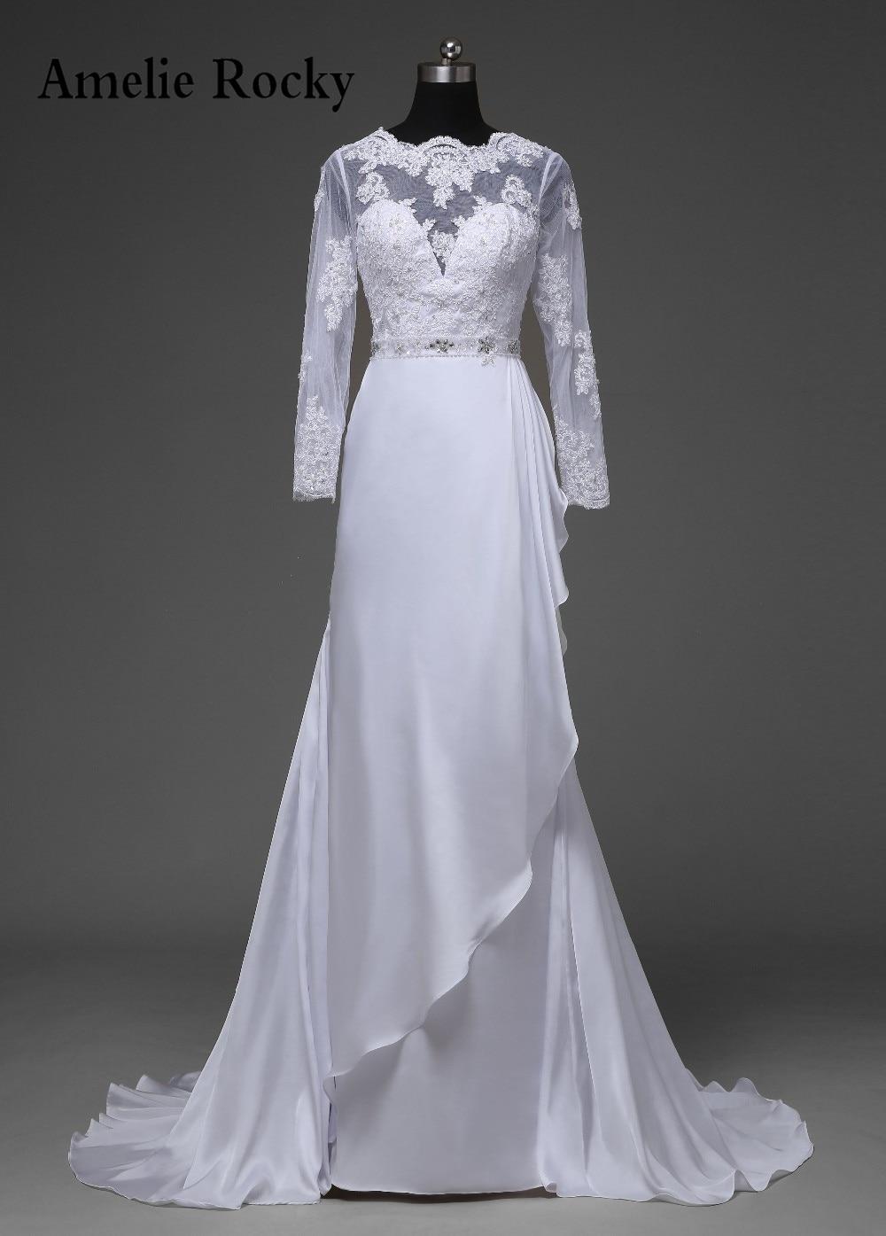 21207e47e8d46 Vestido De Noiva Manga Longa Elegant Long Sleeve Wedding Gowns A Line  Wedding Dresses 2019 Vestido