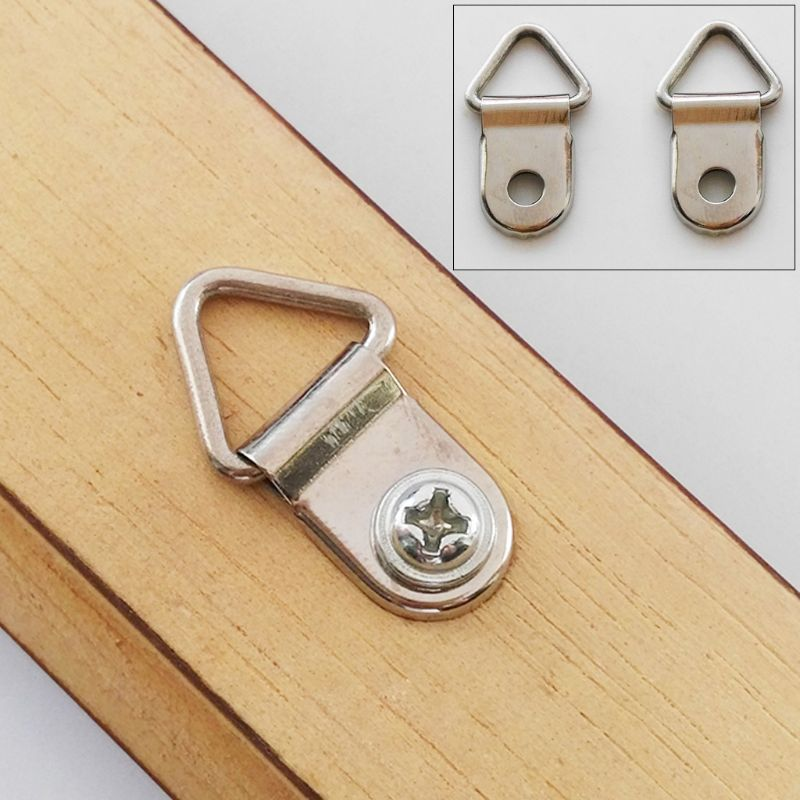100pcs D Ring Hanging Picture Frame Strap Hanger Hooks Oil Painting Mirror Hanger With 100 Screws