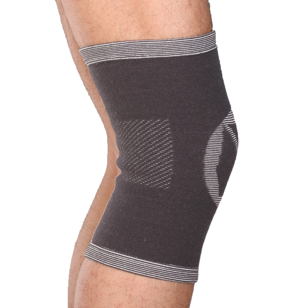 1PCS Breathable Knee Pads Bamboo Warm Knee Brace Compression Basketball Volleyball Support Knee Sleeve Sport Safety Gray