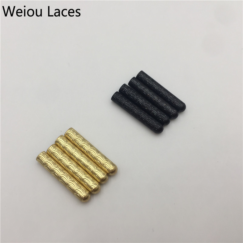 Weiou (20pcs/5 Sets) Shoelaces Metal Aglets 4x22mm Inspired Seamless Gold Tips For Sweatshirt Hood Laces Quality Shoestring End weiou 20pcs lot 4x22mm seamless shoelaces metal aglets bullet shaped head ends replacement repair tips sneaker kits diy custom