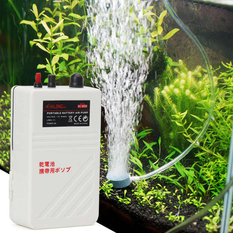 حوض السمك بطارية تعمل خزان الأسماك مضخة هواء مهوية الأكسجين مع خرطوم هواء حجر الهواء