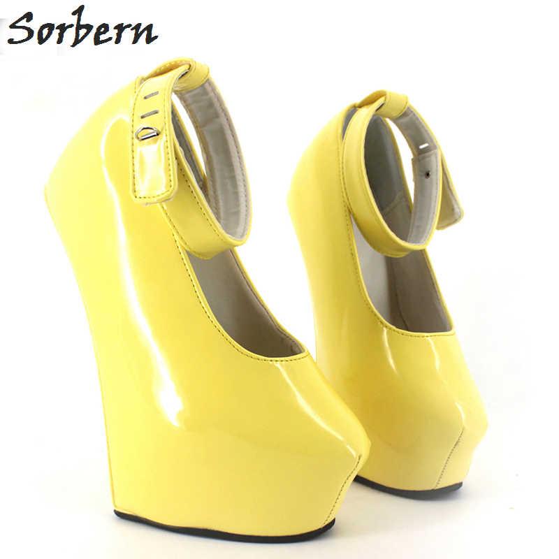 Sorbern 20cm High Heels Pumps Exotic Fetish Wedge Heelless Shoes Ladies Big  Size Padlocks Night Club bd9f0e5e9927