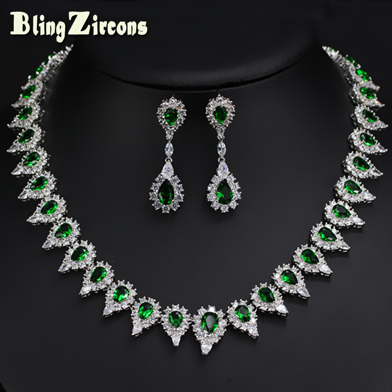 BlingZircons Women Austria Crystal Costume Jewelery Green Pear Shape Bridal Necklace Earrings Set For Wedding Decoration JS014