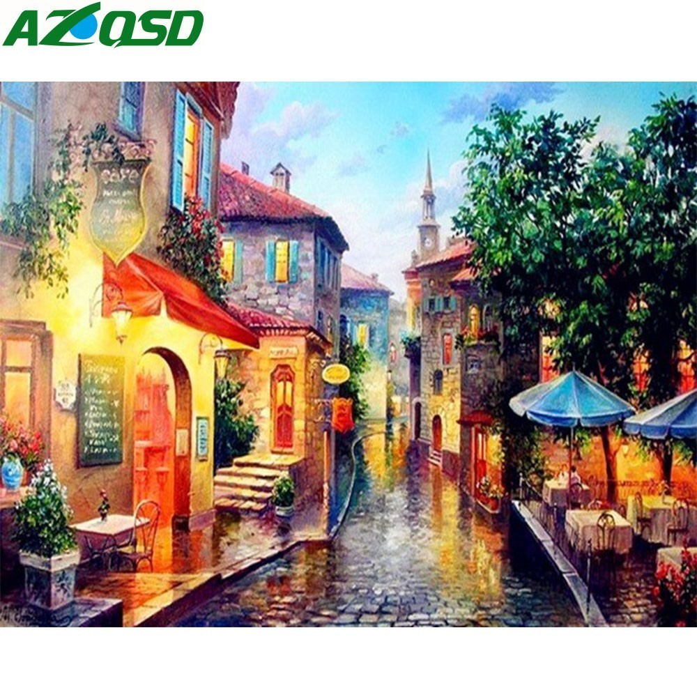 AZQSD Europe City Street DIY Painting By Numbers Home Decoration Handpainted Abstract Oil Painting Living Room Artwork SZGD093