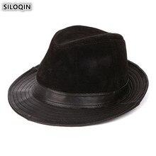 SILOQIN Genuine Leather Hat Mens Fedoras Jazz 2019 New Style Elegant Womens Sheepskin Hats Snapback Cap Unisex